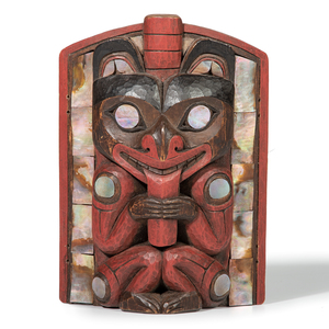 Scott Jensen (Adopted Tlingit, 20th century) Carved Wood Frontlet