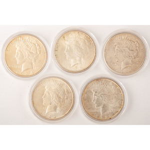 United States Peace Silver Dollars, Lot of Five