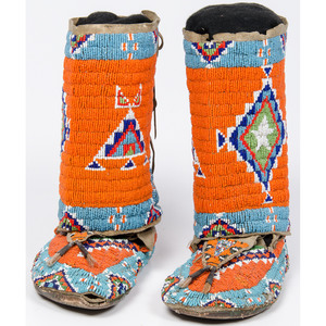 Plains Beaded Hide Moccasins with Matching Leggings