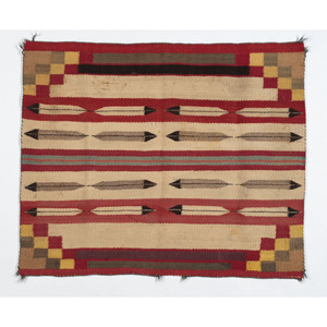 Navajo Pictorial Single Saddle Blanket Weaving / Rug