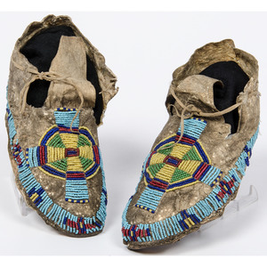 Crow Child's Beaded Hide Moccasins