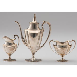 International Sterling Three-Piece Demitasse Service