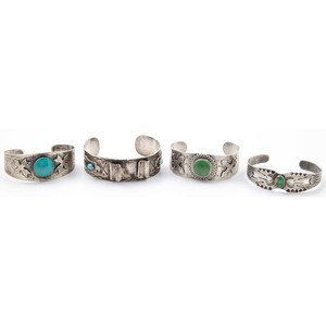 Fred Harvey Era Silver and Turquoise Cuff Bracelets with Arrow Designs