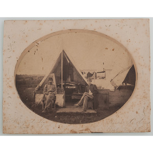 Civil War Albumen Photograph of Two Soldiers at Camp