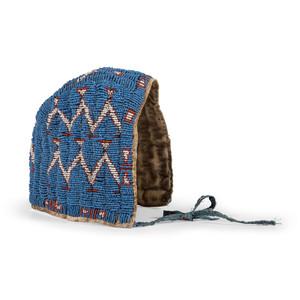 Sioux Child's Beaded Buffalo Hide Bonnet