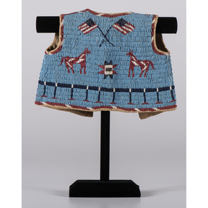 Sioux Child's Beaded Hide Pictorial Vest