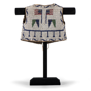 Sioux Child's Beaded Hide Vest with American Flags