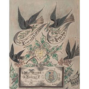 Fine Pair of Post-Civil War GAR Hand-Drawn Memorials, Incl. Wonderful Folk Art Example Drawn by 54th Massachusetts Veteran & Drummer Boy, A.H. Johnson