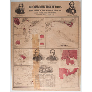 Maps of the Atlantic States: Forts Sumter, Pickens, Monroe and McHenry By Prang