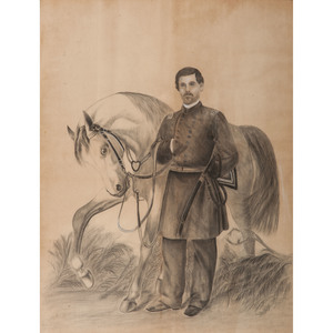 Large Chalk Portrait of Union General George McClellan with Horse
