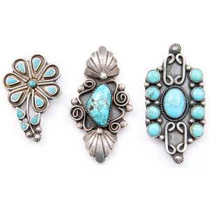 Navajo and Zuni Silver and Turquoise Brooches / Pins and Pendants