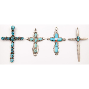 Horace Iule (Zuni, 1901-1978) Silver and Turquoise Cross Pendant PLUS