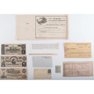 Confederate Currency, Bonds, and Postage, Lot of 9