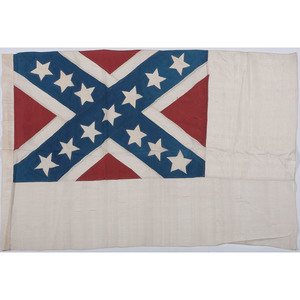 Two Post-Civil War Confederate Flags, Incl. Silk Second National Flag