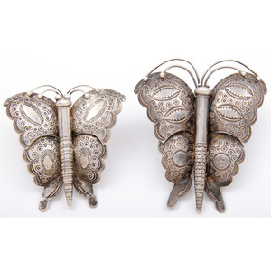 John Silver (Dine, 20th century) Navajo Stamped Silver Butterfly Brooches / Pins