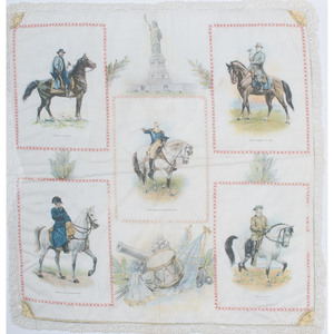 Rare Pillowcase Cover Featuring Military Figures, Incl. Washington, Bonaparte, Grant, Lee, and Cody, Plus