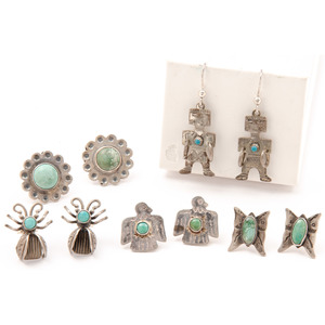 Fred Harvey Era Silver and Turquoise Earrings