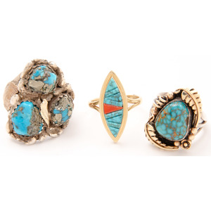 14k Gold and Turquoise Rings by Tim Bedah, Kathy Abeita, and Dan Simplicio