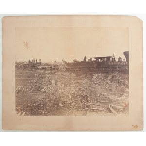 A.J. Russell Civil War Albumen Photograph, Remains of a Train Derailed by the Confederates