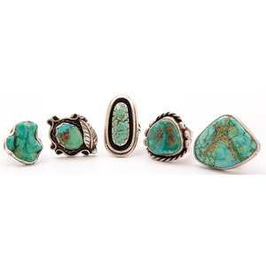 Sam Lovato (Kewa, 20th century) Silver and Turquoise Ring PLUS
