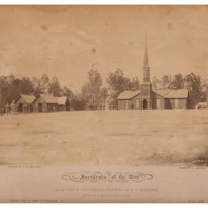 Timothy O'Sullivan Civil War Albumen Photograph, Army Church and Officers' Quarters, 50th NY Engineers