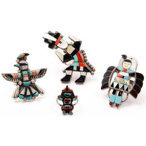Madeline Beyuka (Zuni, b.1935) Mosaic Inlaid Eagle Dancer Ring PLUS