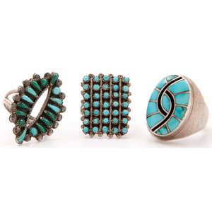 Dickie and Amy Quandelacy (Zuni, 20th century) Silver and Turquoise Channel Inlay Ring PLUS