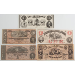 Mixed Lot of Original Confederate Money and Scarce Simulated Currency Used for Advertising