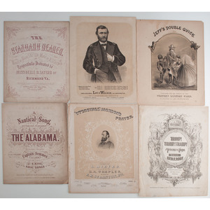 Group of Illustrated Civil War Union and Confederate Sheet Music, Incl. Stonewall Jackson's Prayer and Jeff's Double Quick, Plus