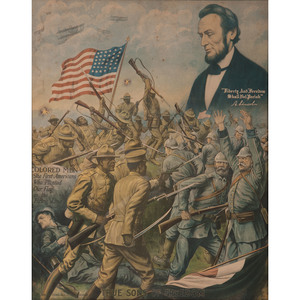 True Sons of Freedom, World War I Poster Featuring Lincoln and African American Troops
