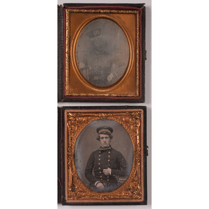 Pair of Sixth Plate Daguerreotypes Showing Men in Uniform