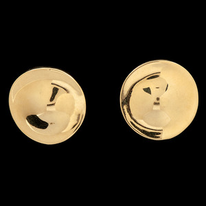 18k Gold Dimensional Disc Earrings