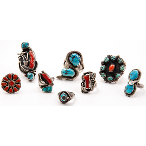 Navajo and Zuni Rings, Including Artists Effie Calavaza, Paul and Nancy Leekity, Les Baker, and Felicita Eustace