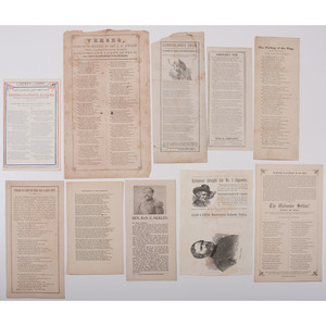 Civil War and Patriotic Imprints, Incl. Newspapers with Fake News Reports of Jefferson Davis' and Beauregard's Deaths, Battle Poems, Plus Tobacco Silk