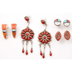 Lorraine Waatsa (Zuni, 20th century) Coral Cluster Earrings PLUS