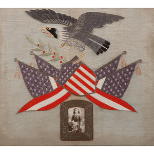 Group of Four Patriotic Embroideries Featuring Spread-Wing Eagles with Shields, Including Sailor