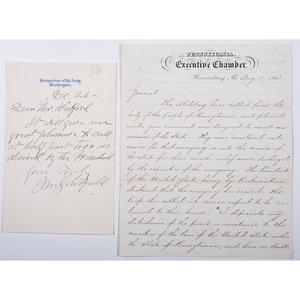 Civil War-Date Correspondence from PA Governor Andrew Curtin and General John Schofield