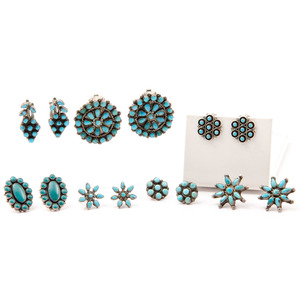 Zuni Silver and Turquoise Cluster Earrings
