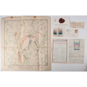 Miscellaneous Lot of Civil War Ephemera, Incl. Ribbons, Imprints, and Signatures of Union Generals
