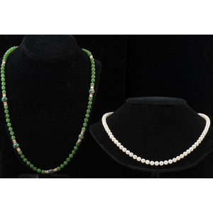 Nephrite Jade and Cultured Pearl Necklaces in 14k Gold