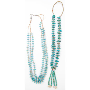 Two Pueblo Turquoise Nugget Necklaces