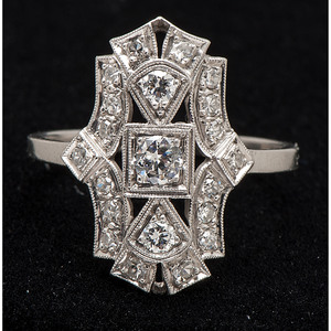 Platinum Art Deco Diamond Shield Ring