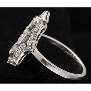 Platinum Art Deco Diamond Shield Ring