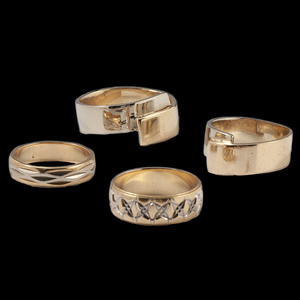14k Bicolor Gold Band Rings, Lot of Four