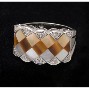 14k White Gold Mother of Pearl and Tiger's Eye Ring