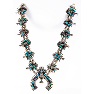 Zuni Silver and Needle Point Turquoise Squash Blossom Necklace