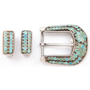 Frank Dishta (Zuni, 1902-1954) Silver and Turquoise Ranger Set