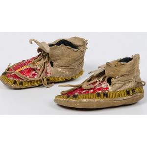 Sioux Infant Beaded and Quilled Hide Moccasins