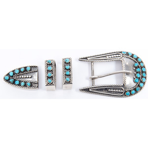 Eleanor Weeka (Zuni, 20th century) Silver and Turquoise Ranger Set
