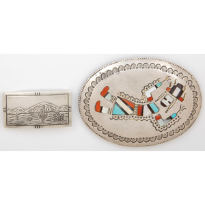 Richard S. Begay  (Dine, 20th century) Navajo Silver and Mosaic Inlay Rainbow Man Belt Buckle PLUS